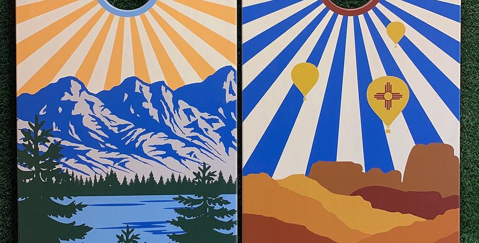 Cornhole Game-New Mexico and Colorado Sunburst