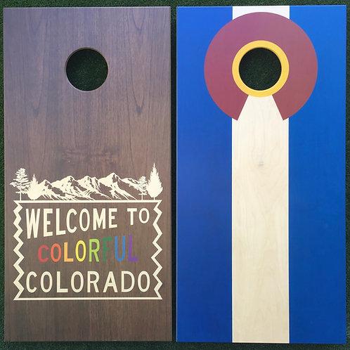 Cornhole Game-Rainbow Welcome and Colorado Flag
