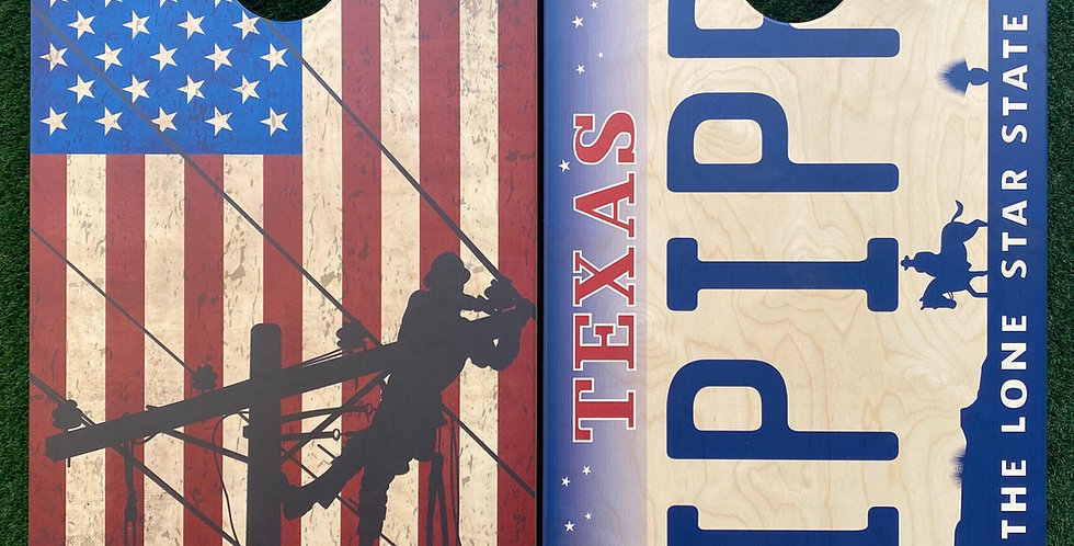 Cornhole Game-Lineman and Texas License Plate