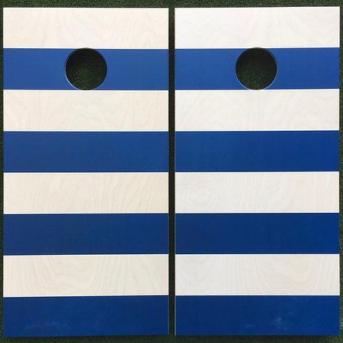 Cornhole Game-Blue and White Nautical Stripe