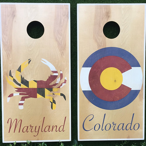 Cornhole Game-Colorado Flag and Maryland Crab