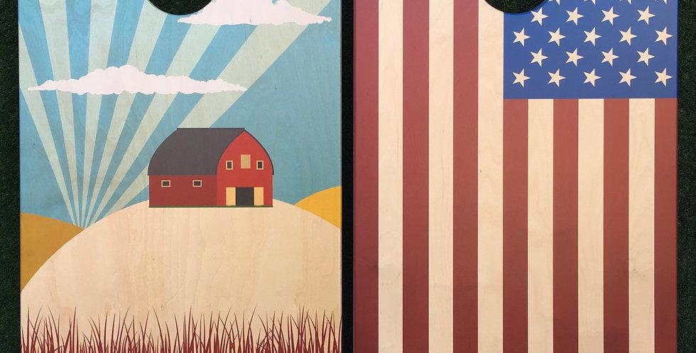 Cornhole Game-Indiana and USA Flag