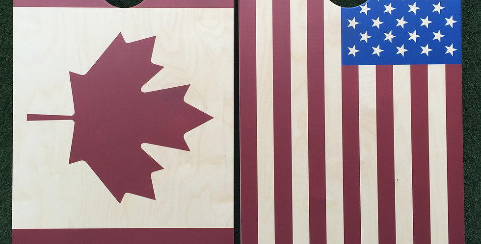 Cornhole Game-American and Canadian Flags
