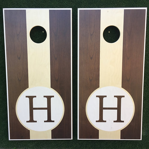 Cornhole Game-Walnut Monogram