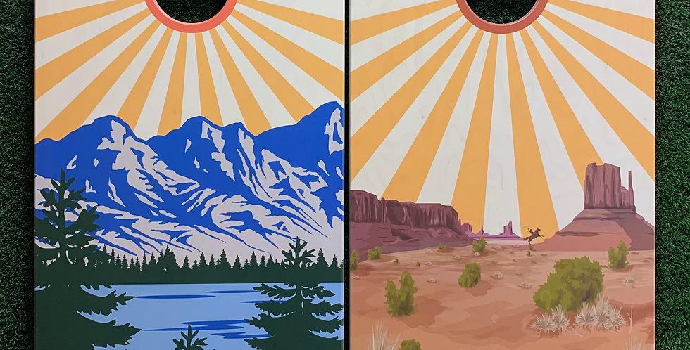 Cornhole Game-Colorado and Texas Sunburst