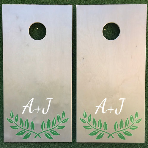 Cornhole Game-Green Leaves with Monogram