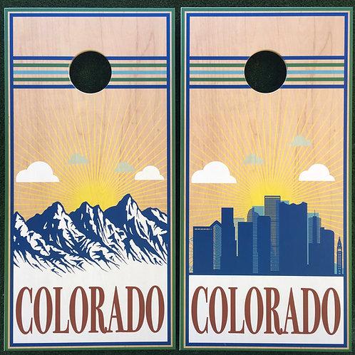 Cornhole Game-Colorado Mountains and Skyline