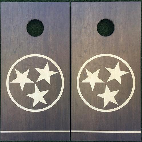 Cornhole Game-Walnut Tennessee Tri-Star
