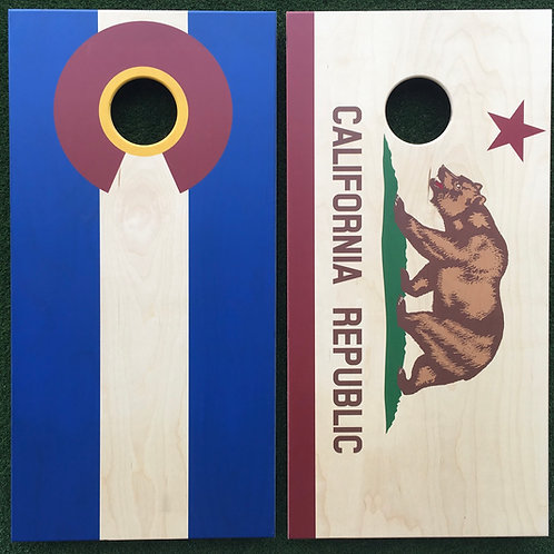 Cornhole Game-Colorado and California Flags