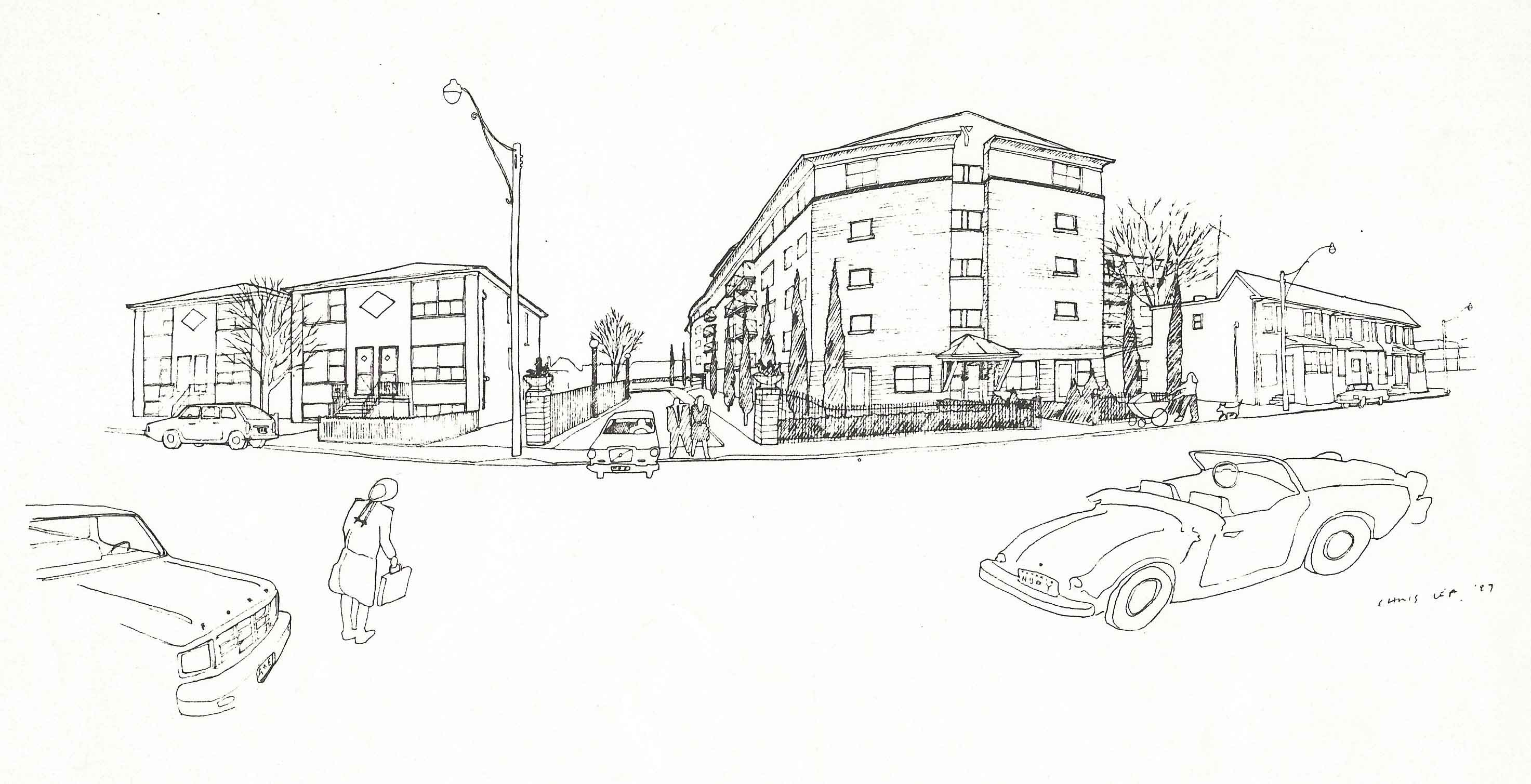 YWCA Pape Avenue sketch, 1987