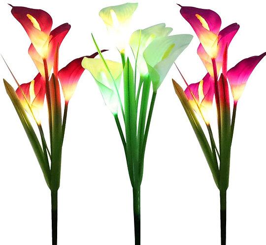 WOSPORTS 3 Pack Solar Lights Outdoor Garden Stake Flower Lights