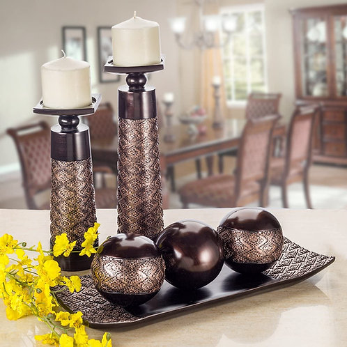 Dublin Home Decor Tray and Orbs Balls Set of 3 - Coffee Table Mantle Decor Cente