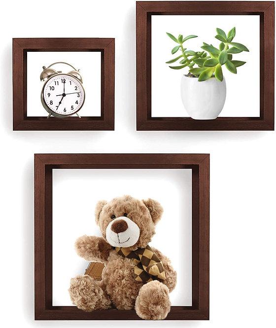 Greenco GRC2583 Set of 3 Cube Floating Shelves, Decorative, Walnut Finish
