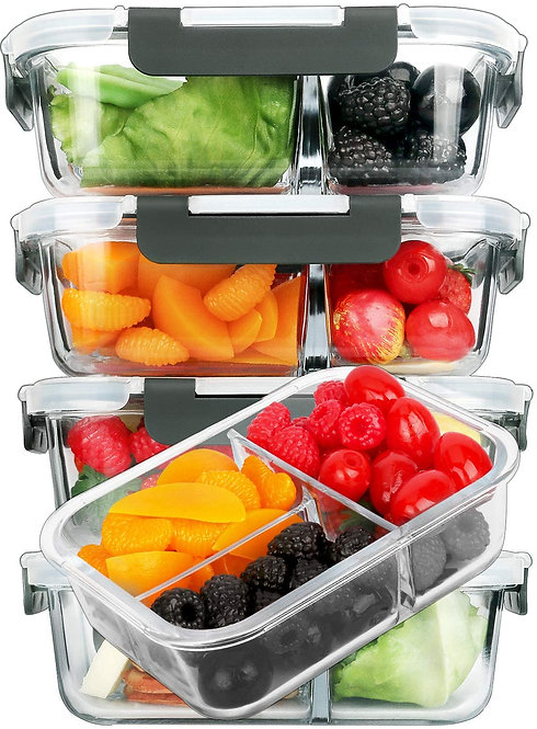 [5-Pack]Glass Meal Prep Containers 3 Compartment with Lids, Glass Lunch box