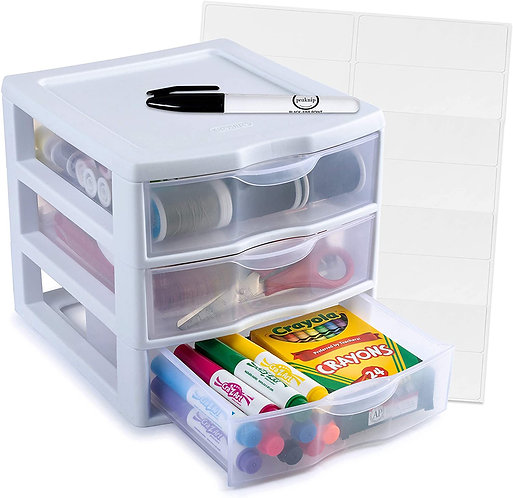 Sterlite Plastic 3 Drawer Storage and Organizer, Stackable Desktop Drawer