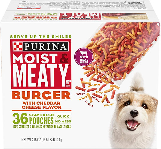 Purina Moist & Meaty Dry Dog Food, Burger with Cheddar Cheese Flavor