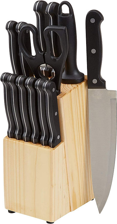 Amazon Basics 14-Piece Kitchen Knife Set with High-Carbon Stainless-Steel Blades