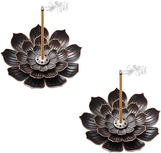 kiniza 2 Pieces Brass Incense Holder Lotus,6 Incense Holes with Ash Catcher