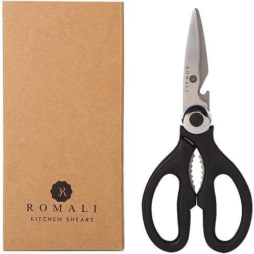 ROMALI All-Purpose Kitchen Shears, Black Kitchen Scissors Dishwasher Safe, Sharp