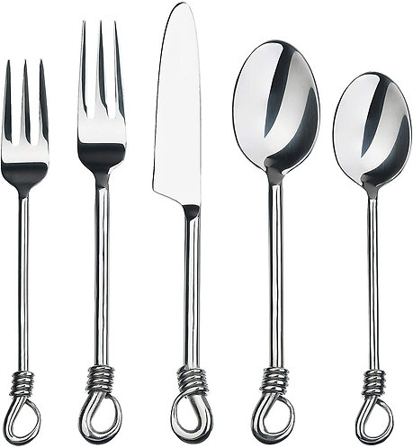 Gourmet Settings 20-piece Silverware Twist Collection Polished Stainless Steel F