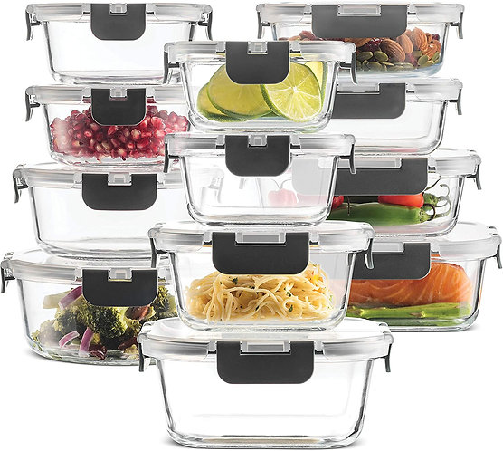 24-Piece Superior Glass Food Storage Containers Set - Newly Innovated Hinged
