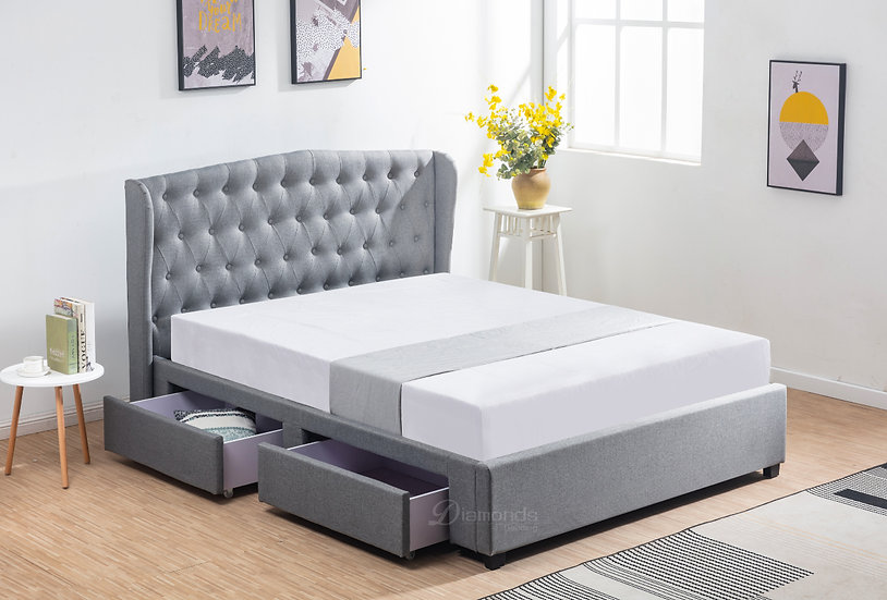 ELANOR Fabric Bed Frame with 2 drawers