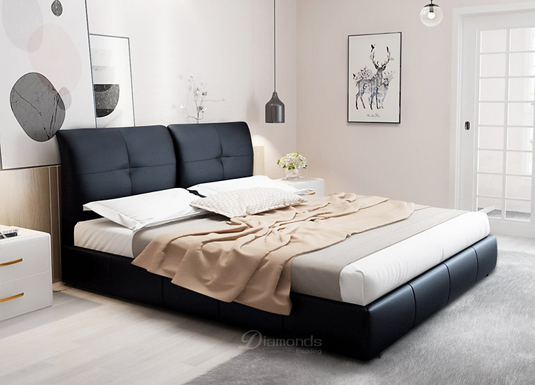 GORGEOUS PU Leather Bed Frame with Rear Cushion