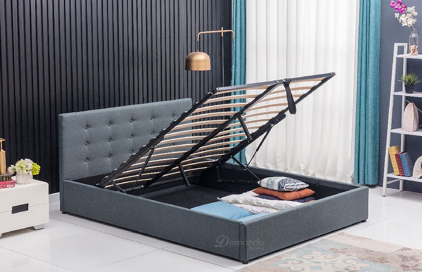DELUXE Gas Lift Fabric Storage Bed Frame