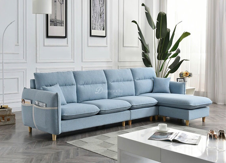 CAPRI Sky Blue Customizable Sofa - Plan D
