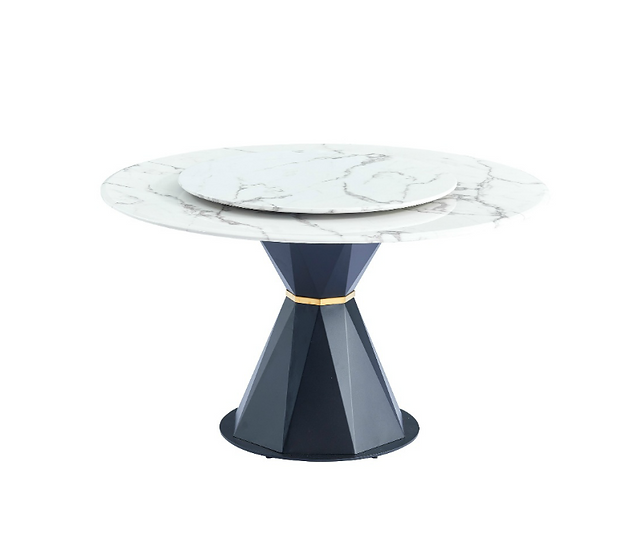 Sylvie Marble Top Dining Table with Lazy Susan (Black base)