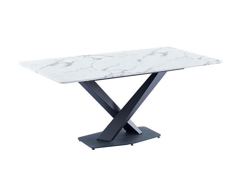 Kingsley White Rectangular Marble Dining Table