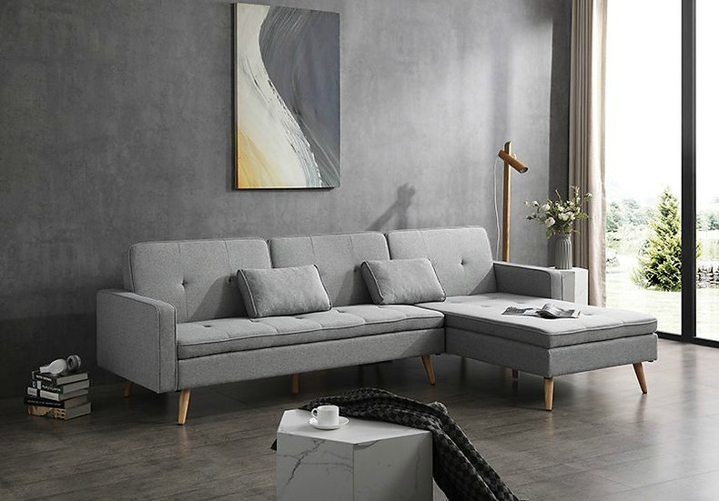 MERLIN Light Grey 3 Seater Sofa Bed with Flexible Chaise