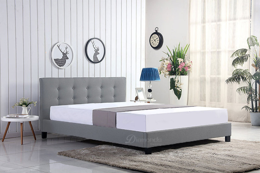 GLADYS Light Grey Fabric Bed Frame