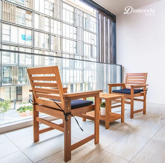 OBED 3 Piece Wooden Outdoor Balcony Set