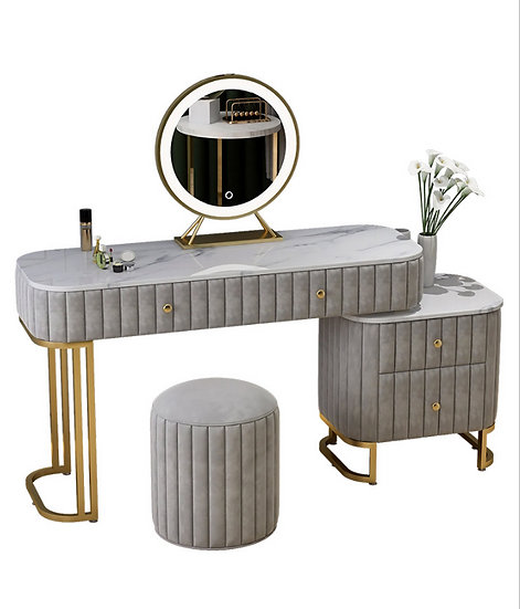 LED Luminous Vanity Table and Stool Set Makeup Dressing Table with Velvetl