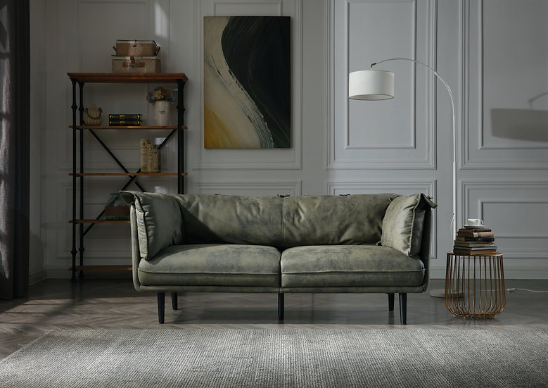 Moss Dark Green Leathaire 3 Seater Sofa
