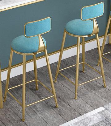 Designed velvet with golden leg bar stool