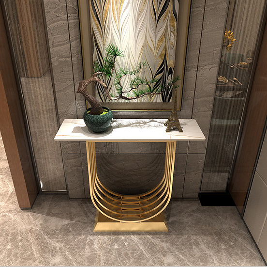 120cm White and Gold Marble Console Table