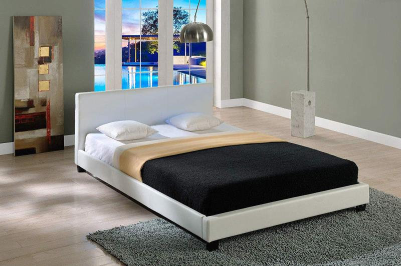STONY Classic PU Leather Bed Frame - White
