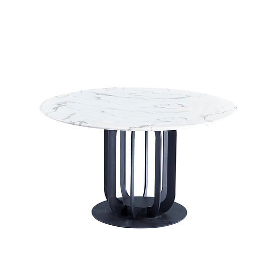 Caio Marble top round dining table with steel legs