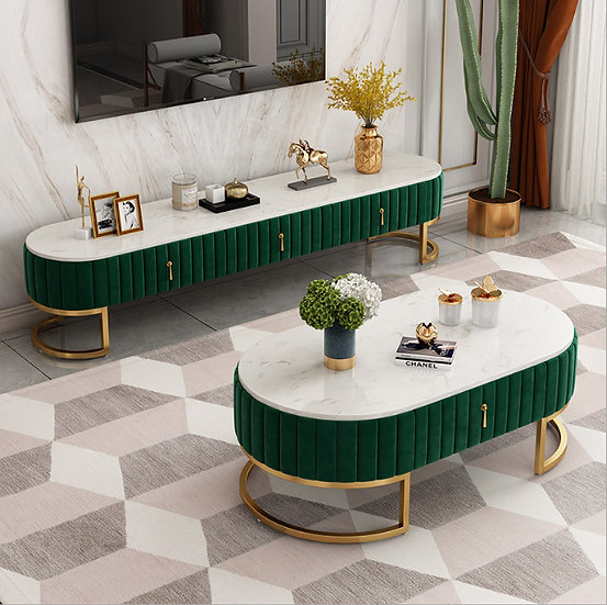 Alice velvet marble coffee table with storage