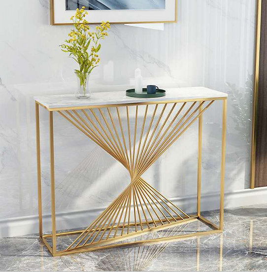 140cm Aiden White and Gold Marble Console Table