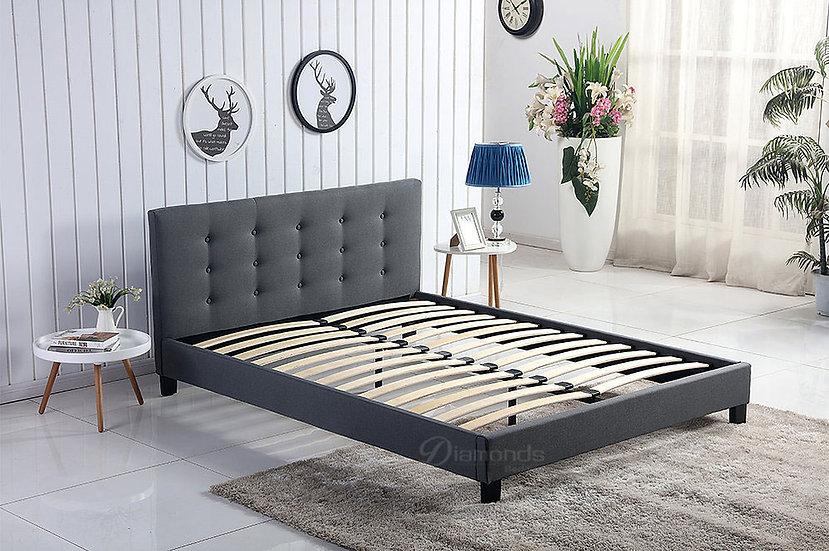 GLADYS Dark Grey Fabric Bed Frame