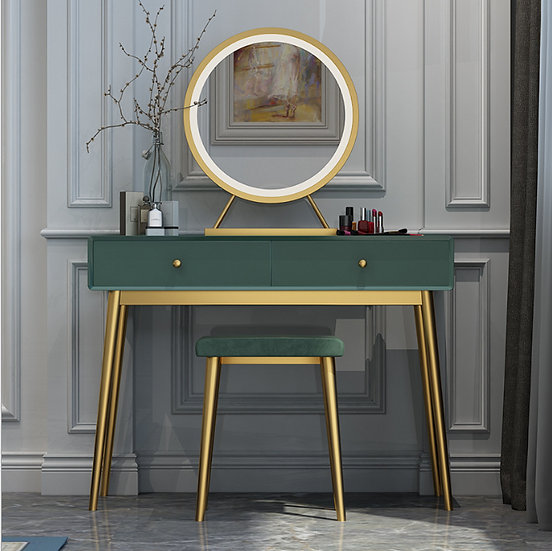 LED Luminous Princess Dresser Vanity Table Dressing Table with Stool andMirror