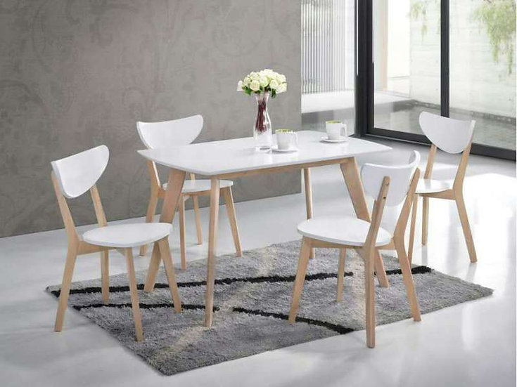 BRITNEY I White Dining Table with 4 Chairs