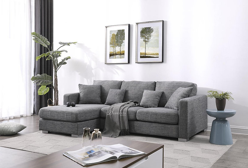 GAVIN Dark Grey Super Comfy Sofa with Chaise