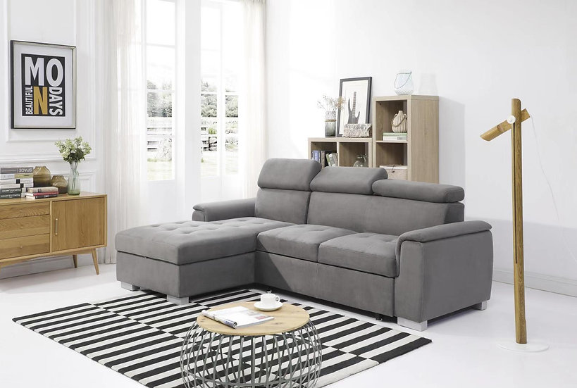 PATRICK Dark Grey Sofa Bed with Storage