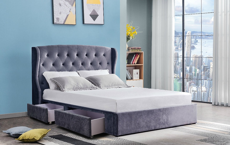 SAVANNAH Velvet Bed Frame Queen Size with 2 Drawers