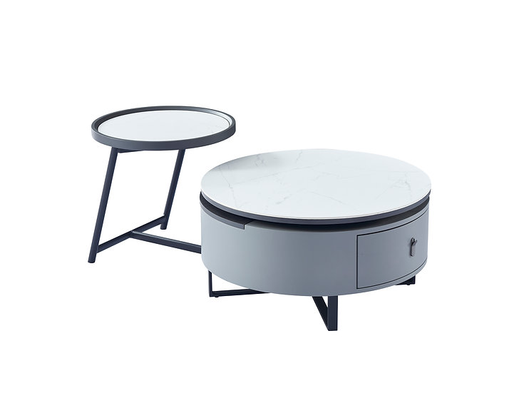 Luca Rotatable Ceramic Top Round Coffee Table with storage
