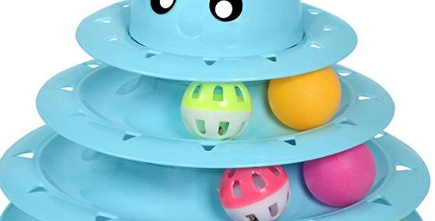 Upsky Cat Toy Roller Cat Toys 3 Level Towers Tracks Roller with Six Colorful Bal